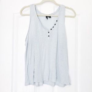 🇺🇸CYNTHIA ROWELY Baby Blue Button Tank